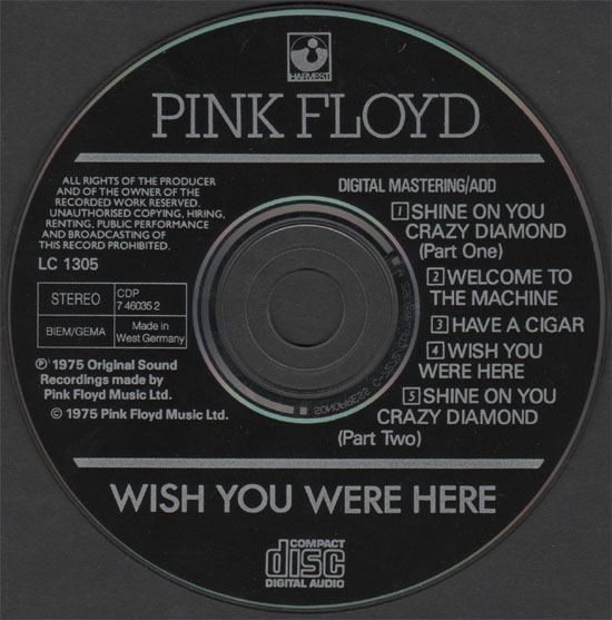 Wish You Were Here CDP 7 46035 2 West Germany